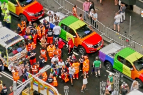 "Line-up of Holden ""Gay Pride"" cars. Australian car manufacturer Holden [subsidiary of GM] supports legal equality for LGBT+ citizens."