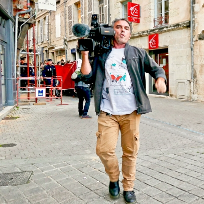 French television camera man in action